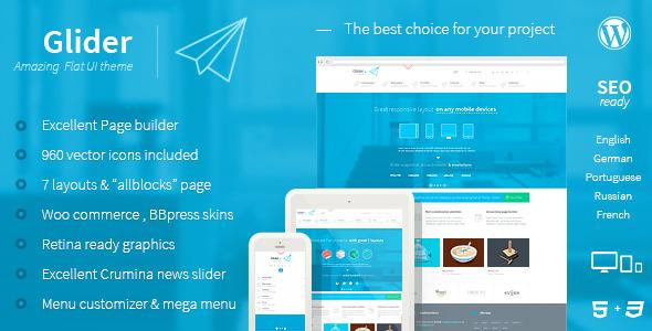 Glider 扁平化 企业 WordPress汉化主题